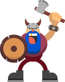 Vector drawing of a viking with an axe and a shield Stock Photos