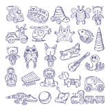 Vector drawing vintage collection of toys. Children games. Illustration isolate on white