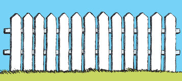 Vector drawing. White fence with boards Stock Image