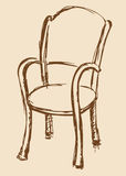 Vector drawing. Wooden chair with armrests Stock Photography