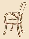 Vector drawing. Wooden chair with armrests Stock Image