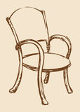 Vector drawing. Wooden chair with armrests Stock Photo