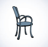 Vector drawing. Wooden chairs with armrests Stock Images
