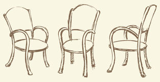 Vector drawing. Wooden chairs with armrests Stock Image