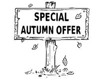 Wooden Sign Board Drawing with Special Autumn Offer Text. Vector drawing of wooden sign board with business text special autumn offer Royalty Free Stock Image