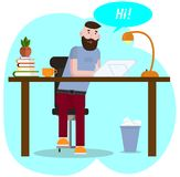 Vector drawing. Workspace concept. Hipster works at graphics tablet. The young man communicates in social networks royalty free illustration