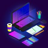 Vector drawing of the workspace with different gadgets and drawings with graphs on a colored background royalty free illustration