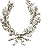 Laurel and oak branches Stock Photo