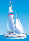 Vector drawing of the yacht Royalty Free Stock Images
