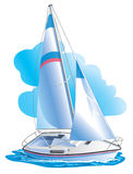 Vector drawing of the yacht against clouds Stock Images