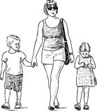Sketch of a mother with her kids going for a walk Stock Photo
