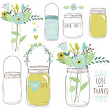 Vector Drawings Of Wedding Jars And Flowers Stock Photos