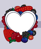 Vector drawn berries label heart. Stock Image