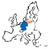 Vector drawn european union borders Germany and Berlin Royalty Free Stock Photos