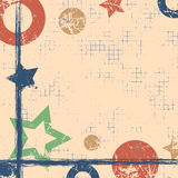 Vector drawn geometric background with geometrical figures, frame, border. Grunge template with stars, circles, dots Old style vin Royalty Free Stock Photos
