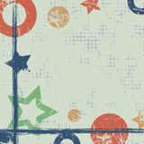 Vector drawn geometric background with geometrical figures, frame, border. Grunge template with stars, circles, dots Old style vin Stock Image