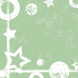 Vector drawn geometric background with geometrical figures, frame, border. Grunge template with stars, circles, dots Old style vin Stock Images