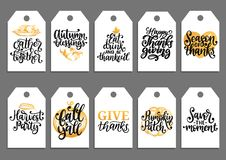 Vector drawn and handwritten labels of Autumn Blessings, Pumpkin Patch, Give Thanks, Fall Yall etc for Thanksgiving Day. vector illustration