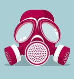 Vector drawning gas mask. Gas mask is red white,background is blue Stock Photos