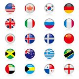 Vector drawning national flag badge set. Background is white Royalty Free Stock Photos