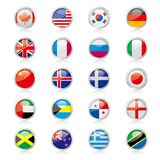Vector drawning national flag badge set. Background is white Stock Images