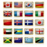 Vector drawning national flag badge set. Background is white Stock Photography