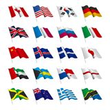 Vector drawning national flag set. Background is white Royalty Free Stock Images
