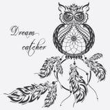 Vector dream catcher owl. White background. stock illustration