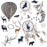 Vector dreamcatchers with feathers, trees and animals. Collection of vector dreamcatchers with feathers, trees and animals Royalty Free Stock Photos