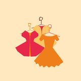 Vector dresses, elegant collection. And icons or emblems Stock Images