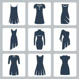 Vector dresses icons set Royalty Free Stock Photos