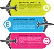 Vector drie stappenachtergrond met vliegtuigen royalty-vrije illustratie