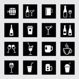 Vector drinks & beverages icons set Royalty Free Stock Photo