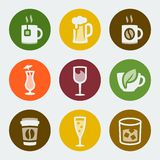 Vector drinks icons set Stock Photos