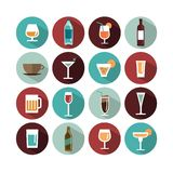 Vector drinks icons. Various drinks icons, vector illustration Stock Photography