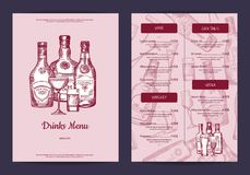 Vector drinks menu template for bar, cafe or restaurant. With hand drawn alcohol drinks bottles and glasses illustration Royalty Free Stock Photography