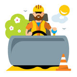 Vector Driver of road roller. Flat style colorful Cartoon illustration. Stock Photos