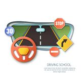 Vector driving school concept. Road, car steering wheel, traffic signs paper cut illustration. View out of window. Vector driving school concept. Road, car Royalty Free Stock Photos