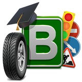 Vector Driving School Concept Royalty Free Stock Photo