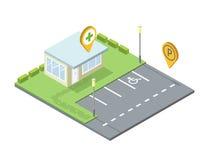 Vector a drograria isométrica, ícone do pino da etiqueta do geo do lugar de estacionamento Foto de Stock