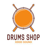 Vector drum icon with sticks. Drum school logo Royalty Free Stock Photos