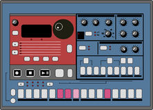Vector Drum Machine. With Buttons and Knobs Stock Photo