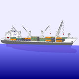 Vector dry cargo ship. Royalty Free Stock Image