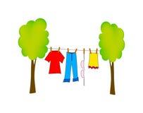 Vector dry washing. Nice illustration of dry washing isolated on white background Royalty Free Stock Image