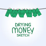 Vector drying money Royalty Free Stock Photos