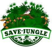Vector Dschungel-Emblem mit Pythonschlange und Zebra-Fink Stockbilder