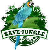 Vector Dschungel-Emblempapagei blauen und gelben Keilschwanzsittich u. x28; Ara& x29; Lizenzfreies Stockfoto