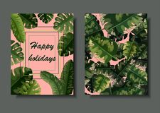 Vector dual postcard template with green palm leaves vector illustration