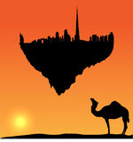 Vector Dubai silhouette flying island Royalty Free Stock Photos