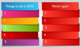 Vector dubbel de Lijstmalplaatje van de Nieuwjaarresolutie vector illustratie